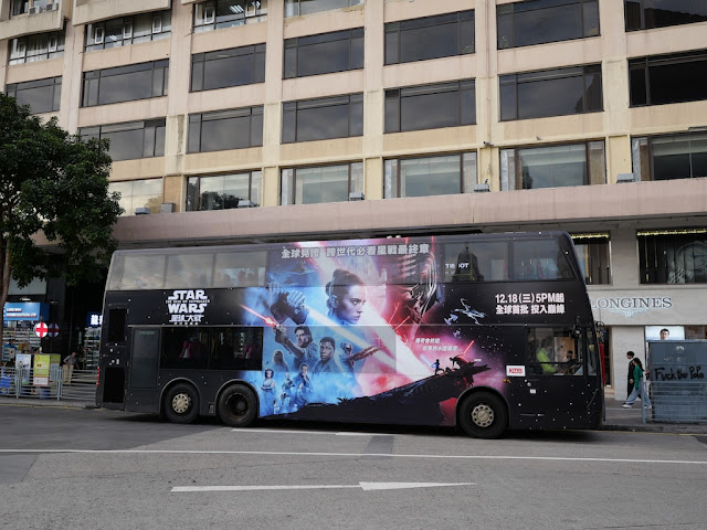 double-decker bus with advertising for Star Wars: The Rise of Skywalker