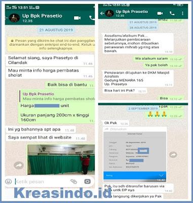 Hijab Masjid atau Penyekat Sholat Stainless pesanan Masjid Arrohim Gedung Menara 165 Jakarta Selatan