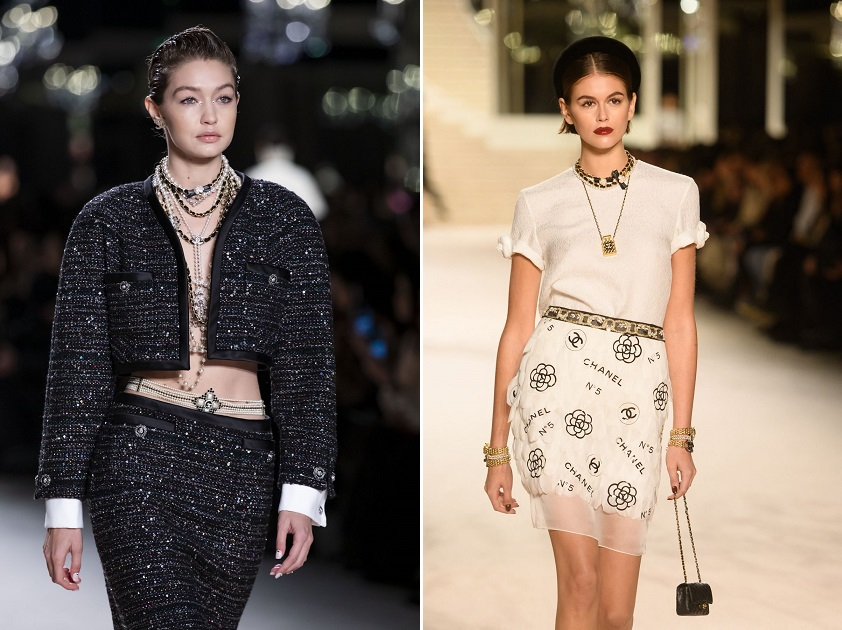 Gigi Hadid goes braless in a glitzy tweed co-ord while Kaia Gerber rules the runway in a monogram miniskirt at Chanel's fashion show in Paris