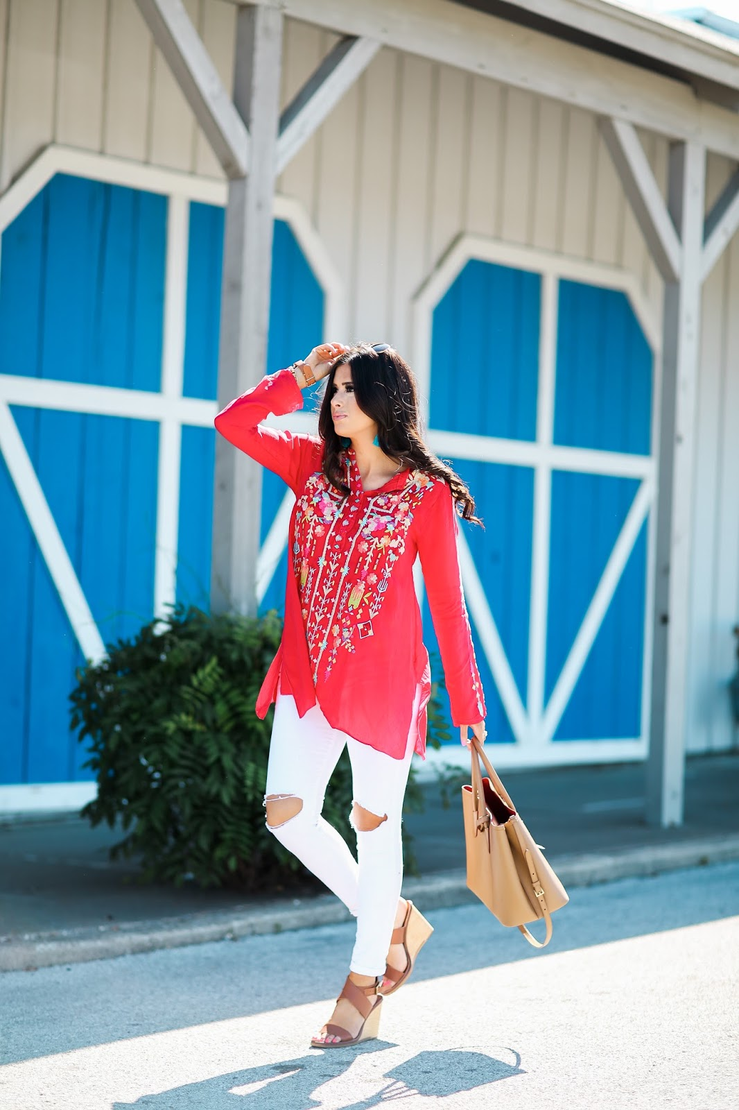 johnny was embroidered top, H&M tassel earrings, brand white distressed denim, emily gemma, the sweetest thing, tulsa fashion blog, prada camel double tote, cinco de mayo outfit idea, summer outfit idea pinterest, summer fashion pinterest