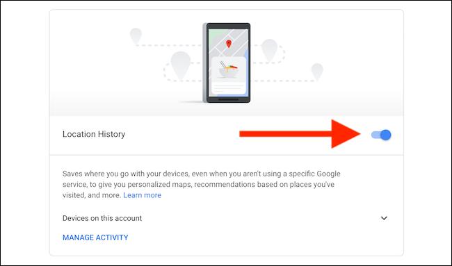 قم بإيقاف تشغيل سجل الموقع لخرائط Google