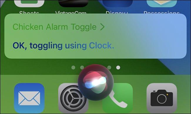بعد تشغيل الاختصار ، سيعرض Siri تأكيدًا على شاشة iPhone.
