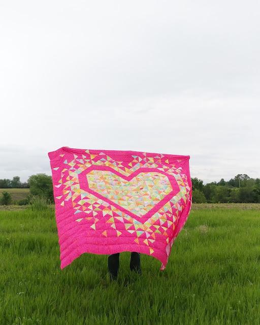 Exploding Heart quilt in Kaffe Fassett fabrics