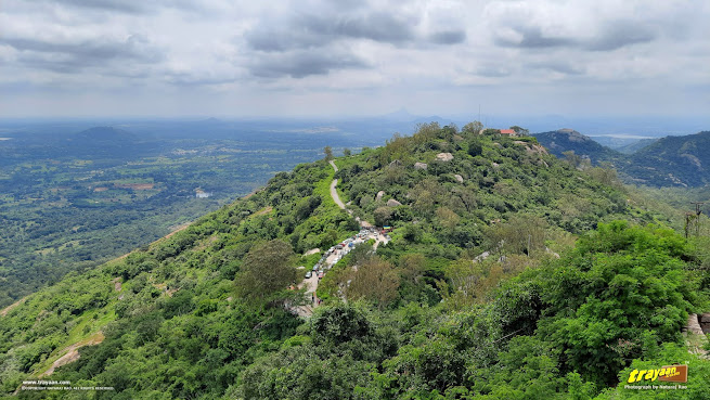 A picturesque view from the Devarayanadurga hill which houses Shri Yoga Narasimha Swamy temple on its top