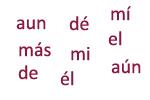 Ejemplos del uso de la tilde diacrítica en algunas palabras