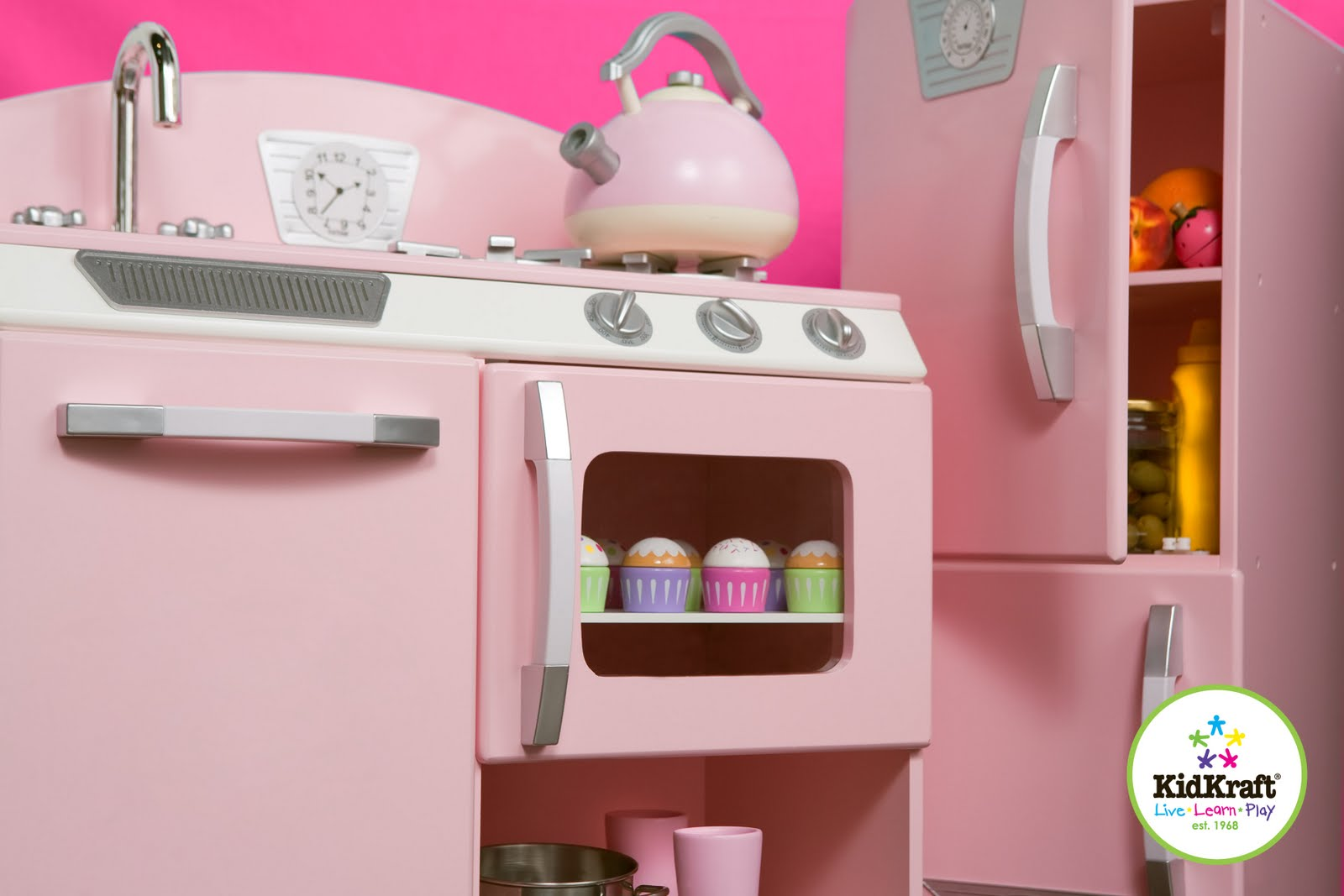 Kidkraft Pink Retro Kitchen & Refrigerator 53160 Floor Tile Ideas Toys And Furniture Spotted In