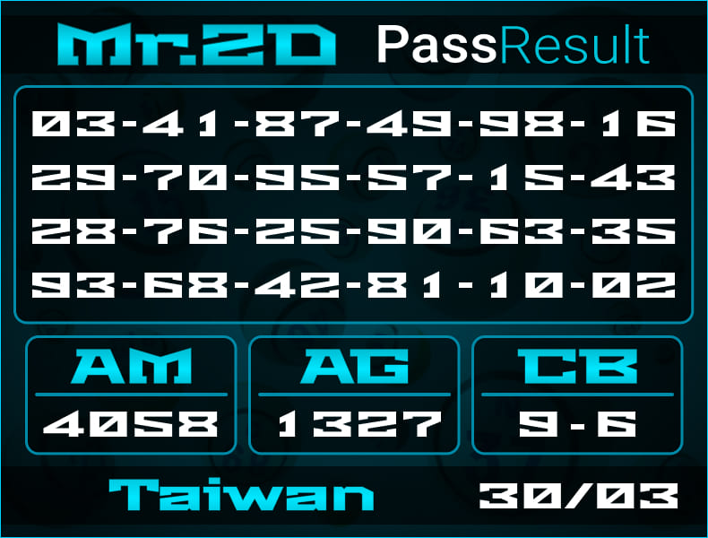 Prediksi Mr.2D   PassResult - Selasa, 30 Maret 2021 - Prediksi Togel Taiwan