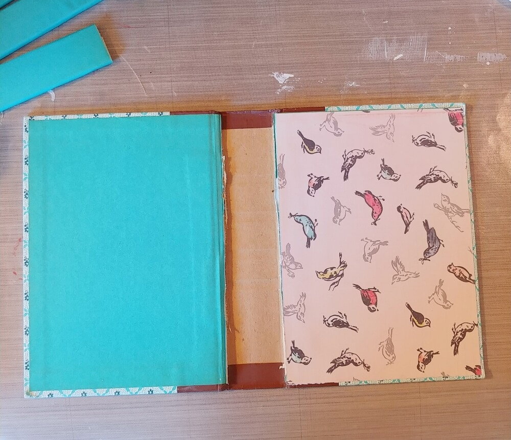 cover the inside with scrapbook paper if desired
