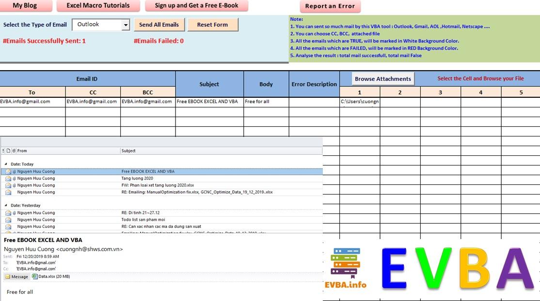 Gửi thư tự động phiên bản chuyên nghiệp 1.0 trong EXCEL bằng VBA (mã công khai)