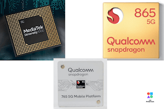 Snapdragon 865, Snapdragon 765, 765G, and Mediatek Dimensity 1000 with 5G support