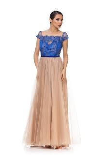 Rochie lungă bej cu albastru pentru domnișoară de onoare