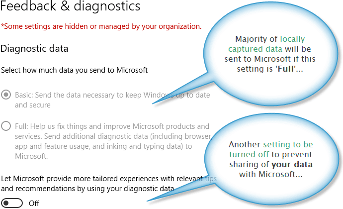 Feedback and diagnostics settings for Windows 10