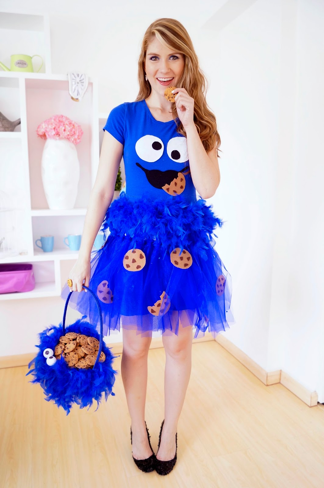 the joy of fashion halloween cute homemade cookie monster costume. Black Bedroom Furniture Sets. Home Design Ideas