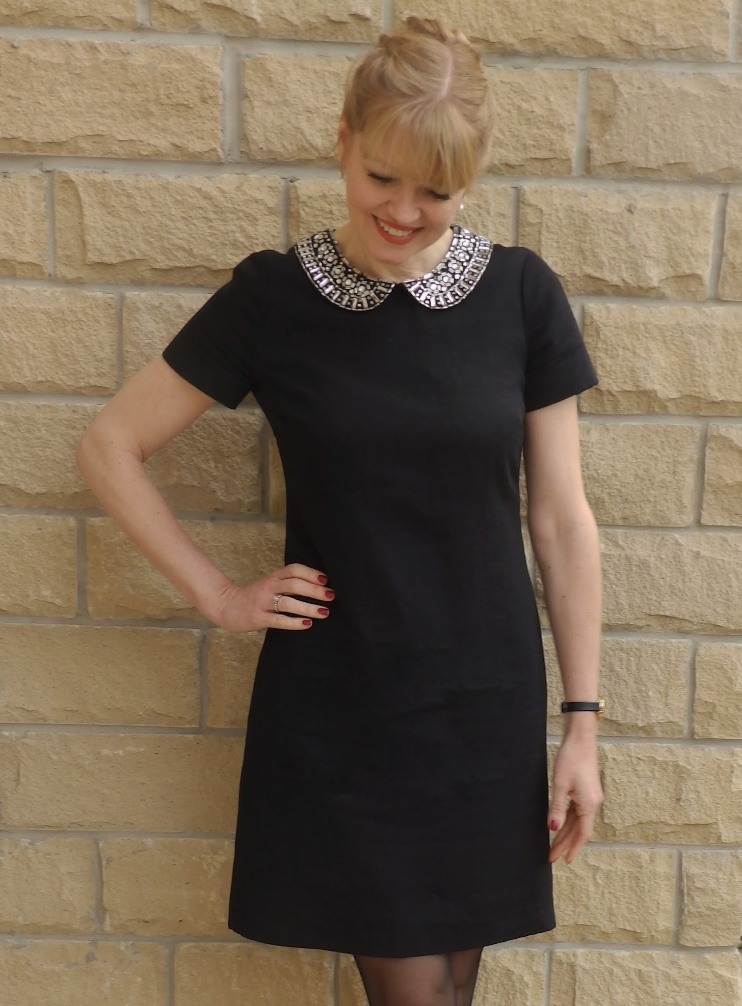 What Lizzy Loves, black dress with sparkly collar