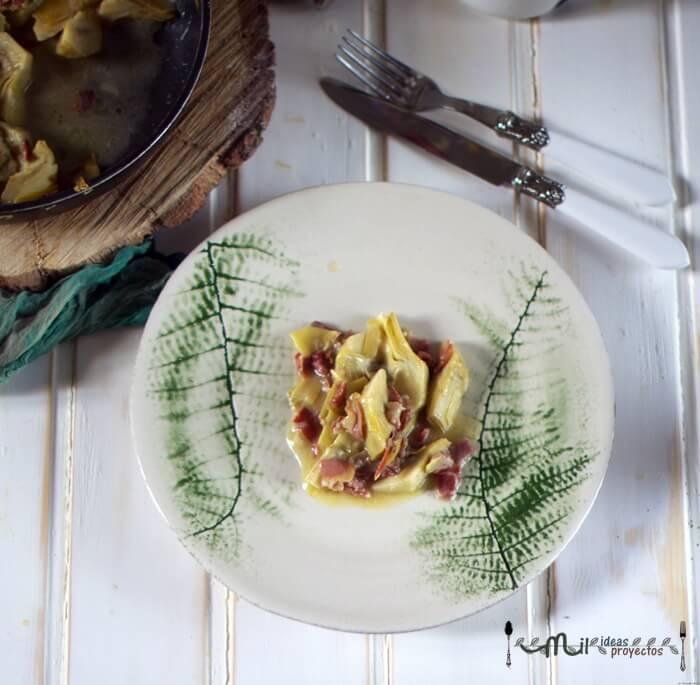 alcachofas con jamón en 20 minutos