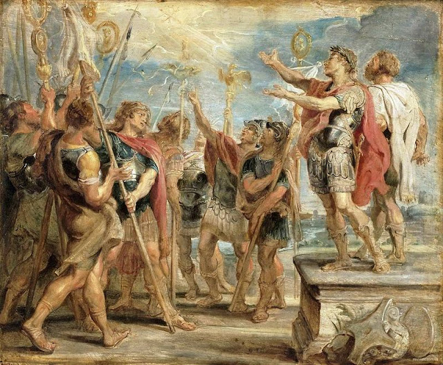 Constantine sees a vision of the Chi-Rho symbol of Christ before conquering Rome, as it ensures victory at the Battle of Milvian Bridge - in a painting by Rubens