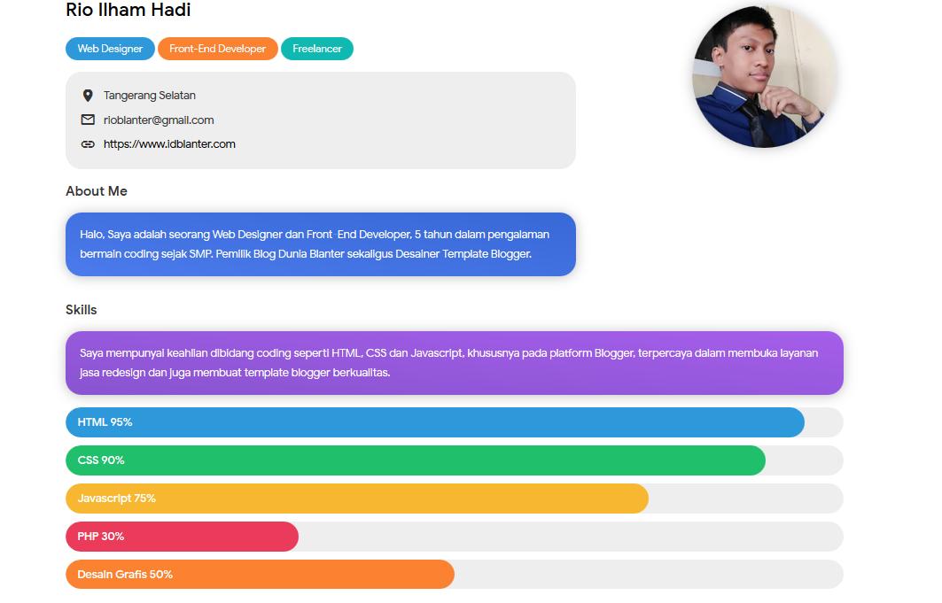 Profile Blanter Premium Blogger Template Download