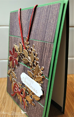 Rhapsody in craft, Arrange a Wreath, Aug-Dec Mini 2020,  2020-21 Annual Catalogue, Stampin' Up, Stampinup, In Good Taste DSP, Lovely Labels Pick a Punch, Christmas Cards, Christmas, Brushed Metallic Card stock, Heart of Christmas 2020