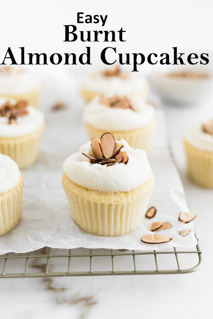 Easy Burnt Almond Cupcakes