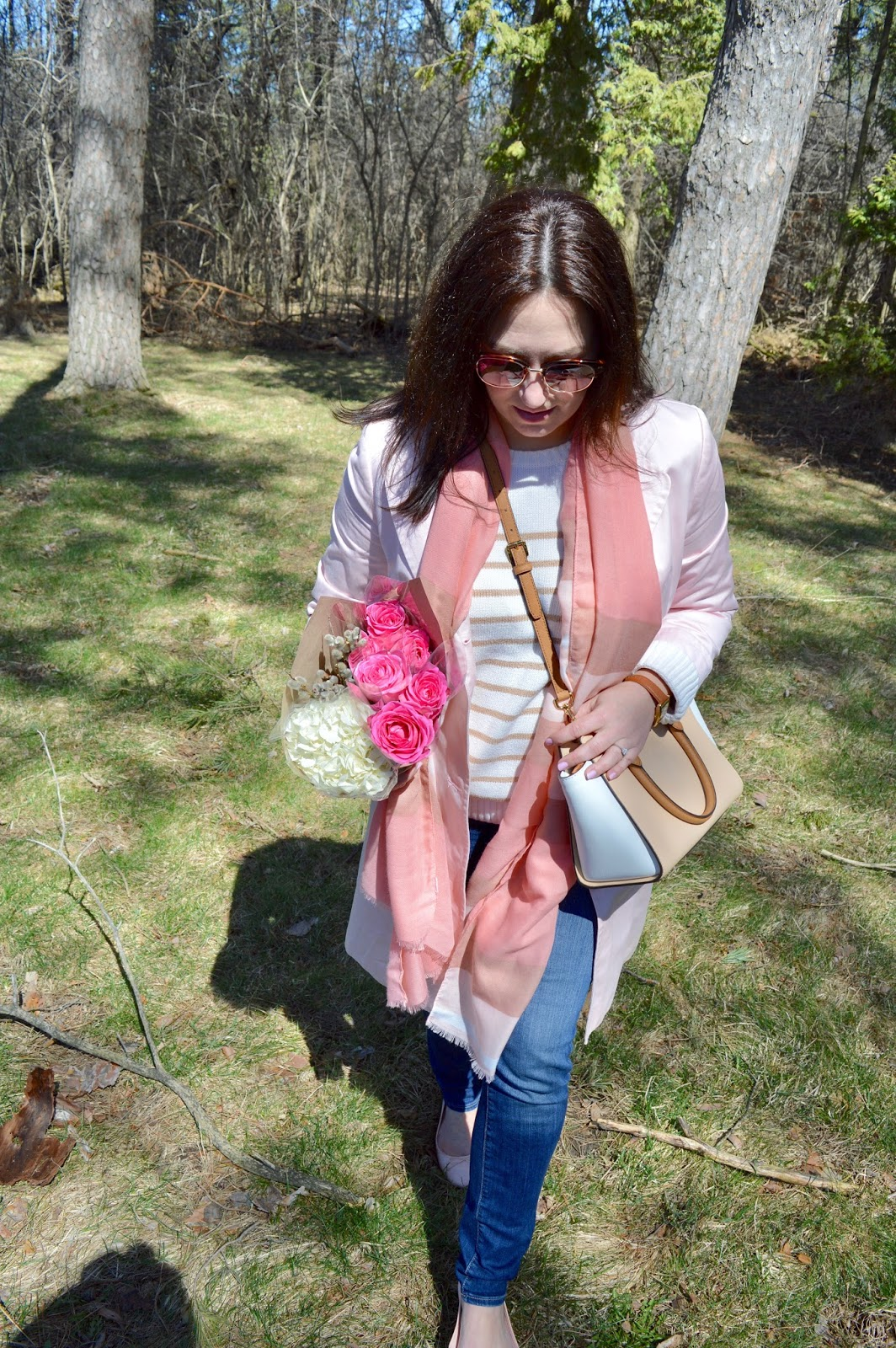 pink trench and pink scarf