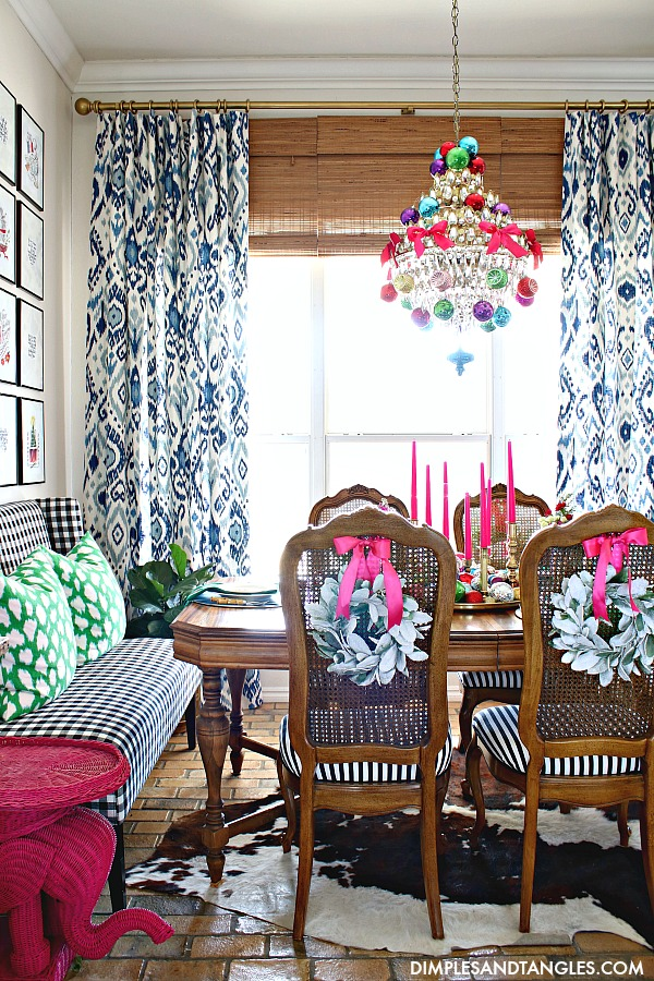 blue and white curtains, gingham furniture, breakfast nook, cow hide rug
