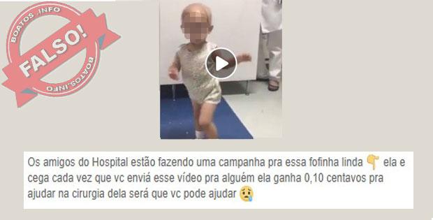 Falso: Menina Cega Ganha 10 centavos por vídeo compartilhado