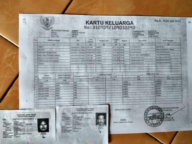 Kartu Keluarga dan identitas keluarga Mohammad Raffa Rohmatullah