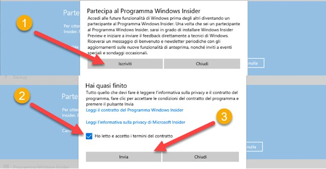 registrazione al programma windows insider