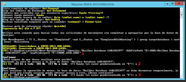 "Move-DatabasePath -Identity ""Mailbox Database 1601282397"" -EdbFilePath ""E:\EDB1\Mailbox Database 1601282397.edb"" –LogFolderpath ""F:\TRANS_LOGS_EDB1"""