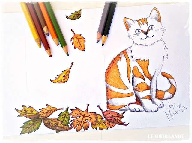 Free digital cat stamp Gattino su Foglie d'Autunno