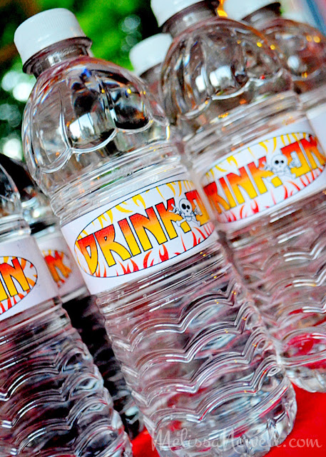 drink on, water bottle labels, bottled water, rock star party, rock n roll