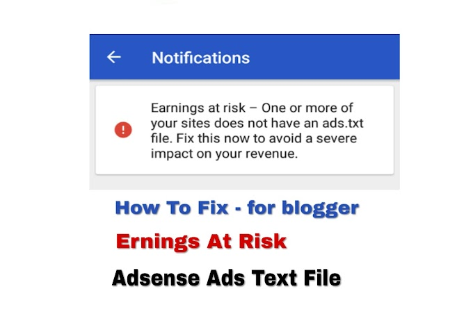 How To Fix Earnings At Risk-Ads Txt Adsense In Hindi