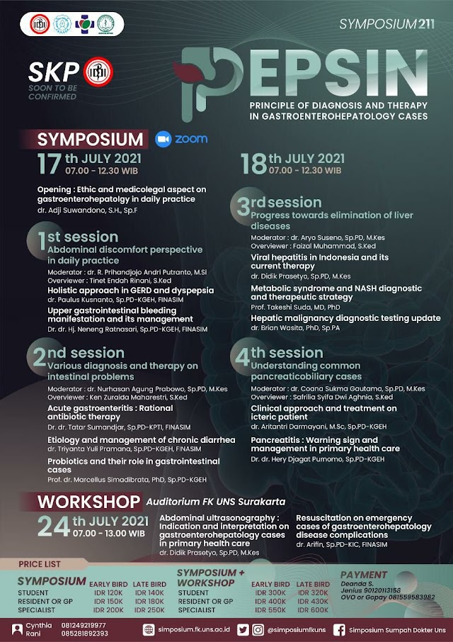 "SIMPOSIUM & WORKSHOP ▪PEPSIN▪  ""Principle of Diagnosis and Therapy in Gastroenterohepatology Cases"""