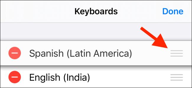 استخدم المقبض لإعادة ترتيب لوحات المفاتيح