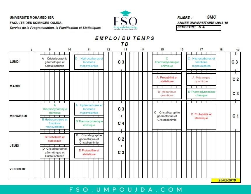 Emplois du Temps des TDs SMC S4 - Session Printemps 2018/2019