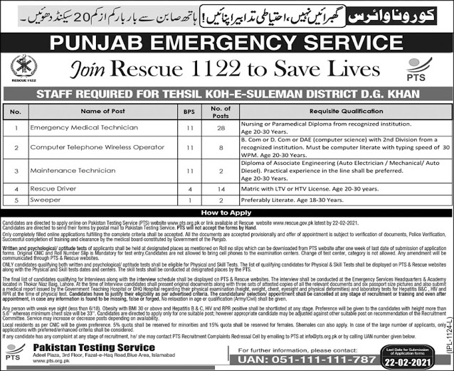 Rescue Diver Jobs 20121 - 1122 New Jobs 2021 - Rescue 1122 Jobs 2021 - Rescue 1122 Latest Jobs - Apply For Rescue 1122 Jobs Via PTS Website - www.pts.org.pk