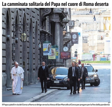 O Papa andando nas ruas de Roma vazias