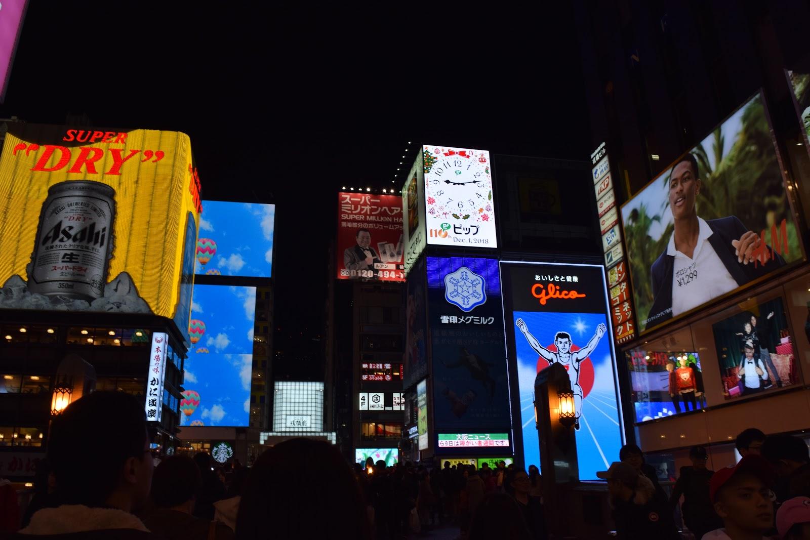 Neon signs of Ebisubashi, Dotombori at night