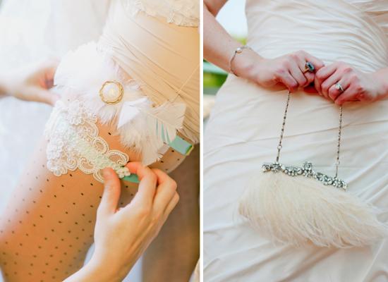 feathers wedding, roaring 20s wedding, feather wedding garter, feather wedding bag