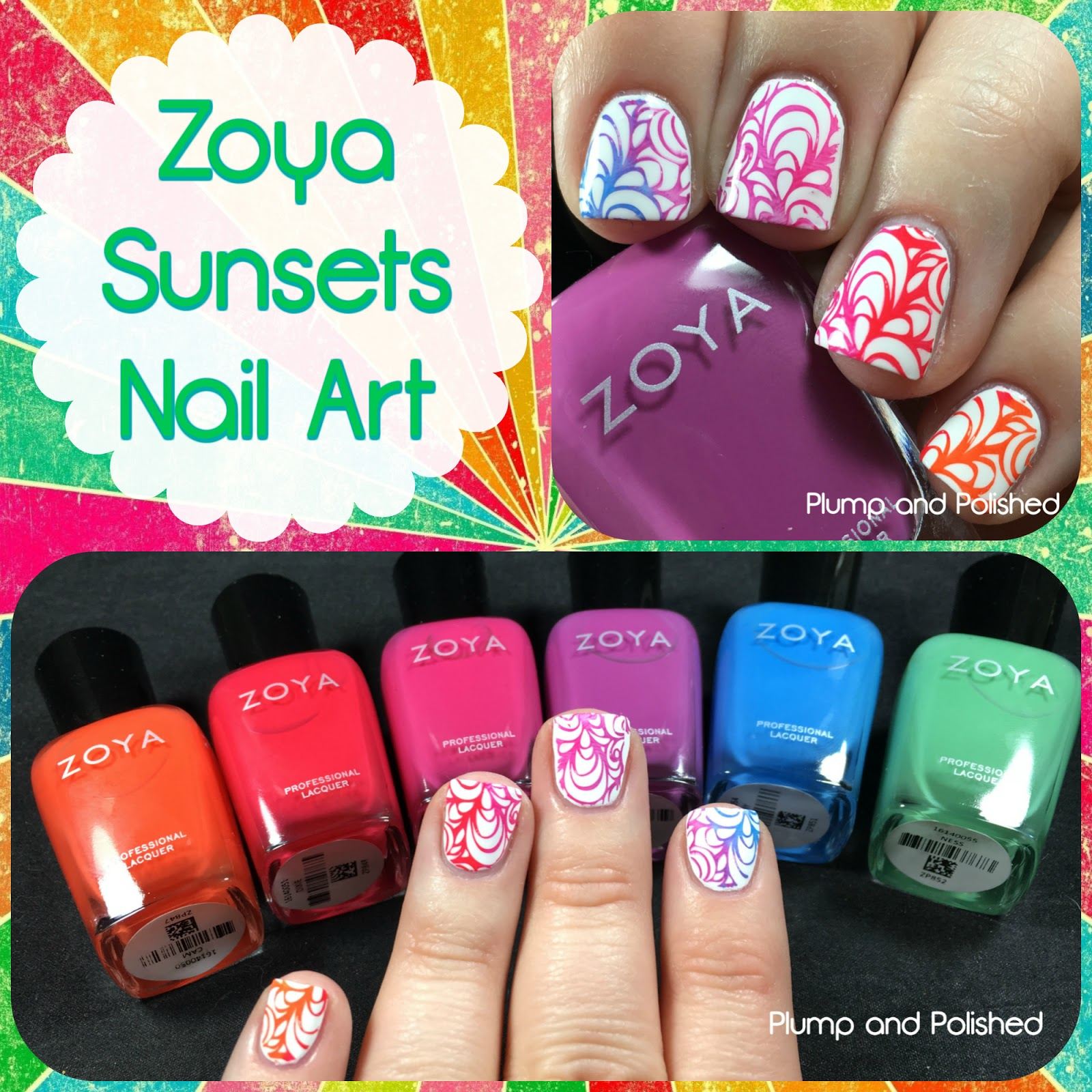 Plump And Polished Zoya Sunsets Collection Nail Art Stamping
