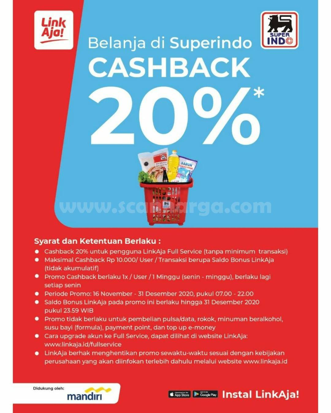 Superndo Promo Cashback 20% – tanpa minimum belanja, pakai LinkAja