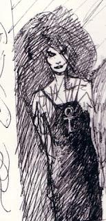 Neil Gaiman fit un croquis de Death pour un projet de couverture