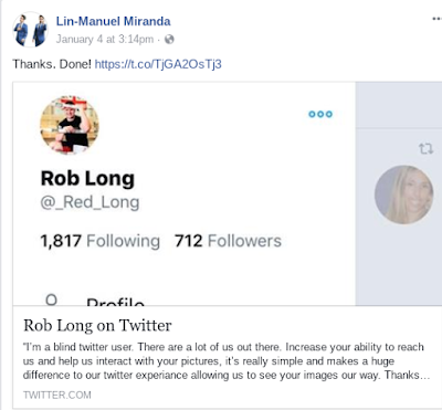 Lin-Manuel Miranda's Facebook post confirming to Rob Long that he will use alt text on Twitter