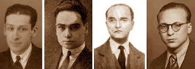 Los ajedrecistas García Castellà, Vilardebó, M. Sererols y R. Llorens