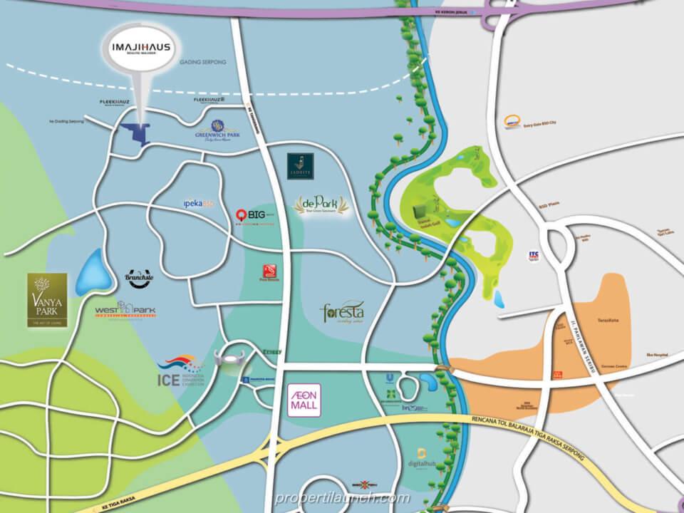 Peta Lokasi Cluster ImajiHaus BSD