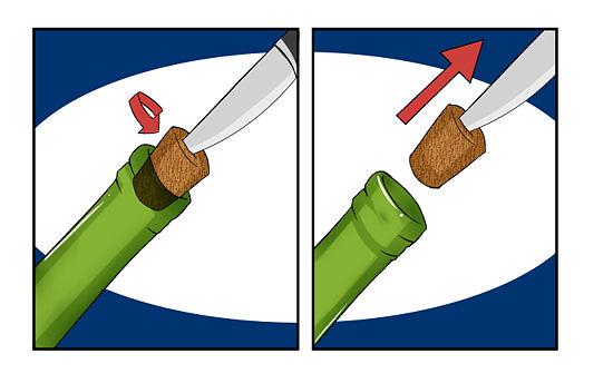 фото Вместо штопора можно использовать нож