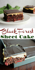 This simplified sheet cake version of black forest cake still feels ultra luxe. Moist chocolate cake studded with cherries, creamy vanilla German buttercream and a layer of ganache come together to make your dessert dreams come true!