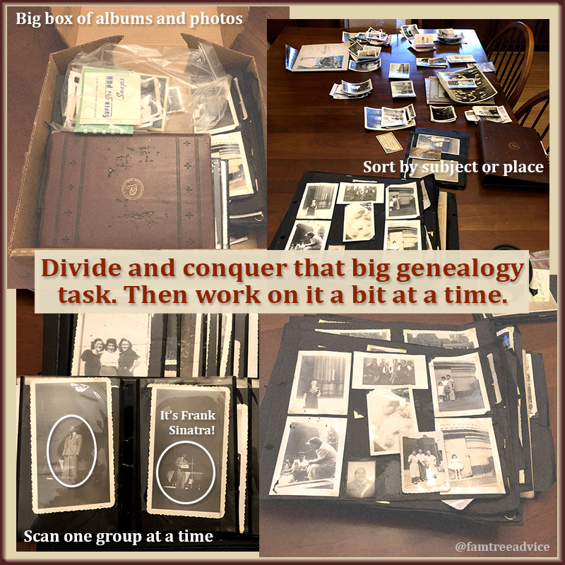 Can't concentrate for long? Divide your genealogy project into smaller increments.