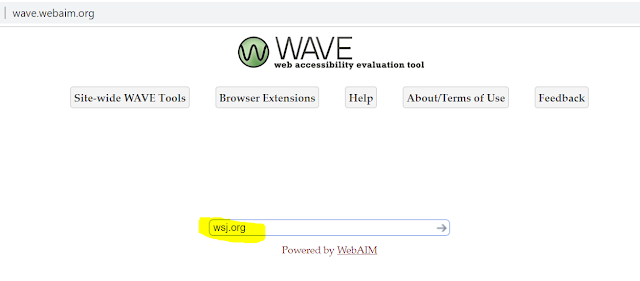 Screenshot of the WAVE website at http://wave.webaim.org. In the empty field is the website wsj.org