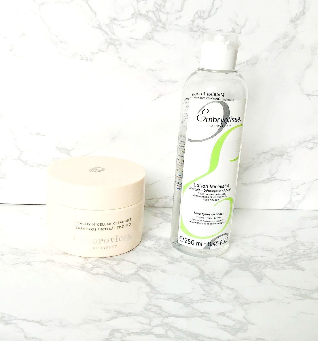Embryolisse Micellar Cleanser, Omorovicza Peachy Micellar Cleanser